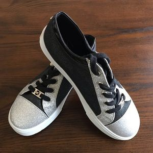 Michael Kors Malaga Black and Silver Tennis Shoes